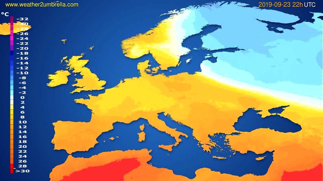 Temperature forecast Europe // modelrun: 00h UTC 2019-09-21