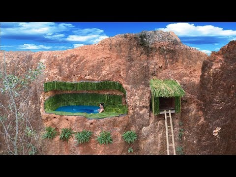 Build Most Secret Underground Bamboo Swimming Pool And House On The Cliff - Thời lượng: 16 phút.