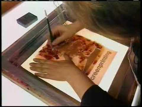 screen - Screenprinting: The artist creates a stencil and applies it to a piece of fabric (the screen) stretched over a wooden frame. Ink is pulled across the screen ...