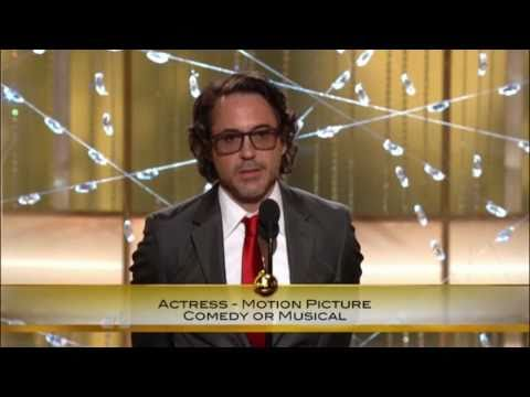 robert downey jr - Robert Downey Jr presented the award for Best Actress in a Comedy or Musical at the Golden Globes.
