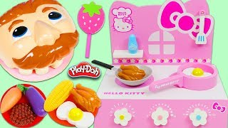 Feeding Mr. Play Doh Head A Yummy Meal Using Hello Kitty Grill & Real Working Sink!