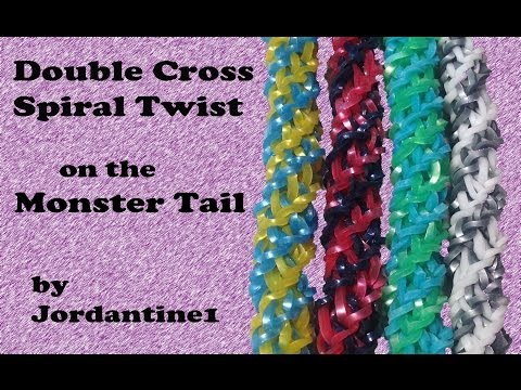 Double Cross Spiral Twist Bracelet made on the Monster Tail – Rainbow Loom