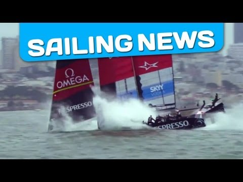 Emirates Team New Zealand - Emirates Team New Zealand suffered a nosedive at the third mark rounding, reducing the boatspeed from 40 knots to 13 and flicking two crewmembers, Rob Waddel...