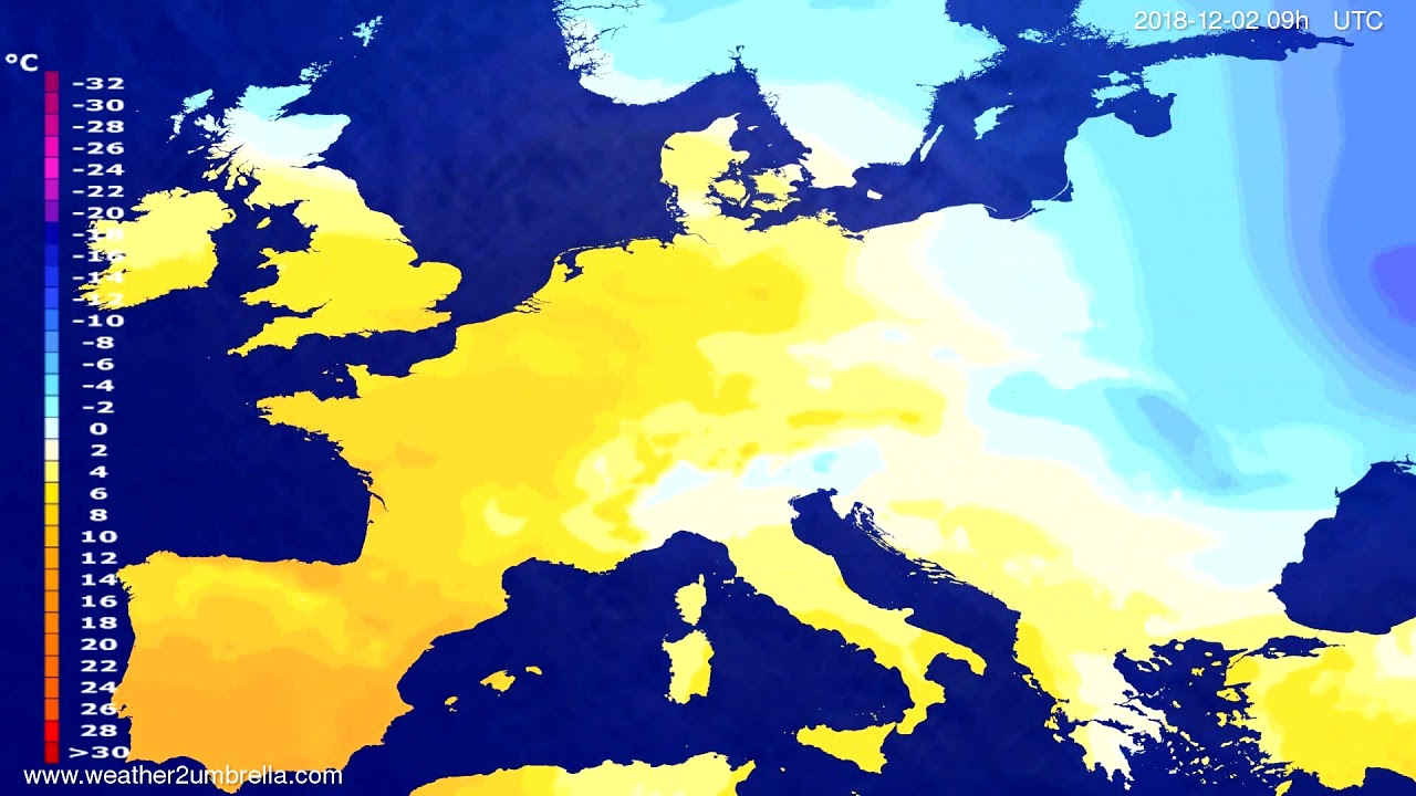 Temperature forecast Europe 2018-11-30