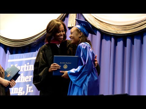 address - The First Lady, Michelle Obama, delivers the commencement address to graduates of the Martin Luther King, Jr. Academic Magnet High School for Health Sciences...