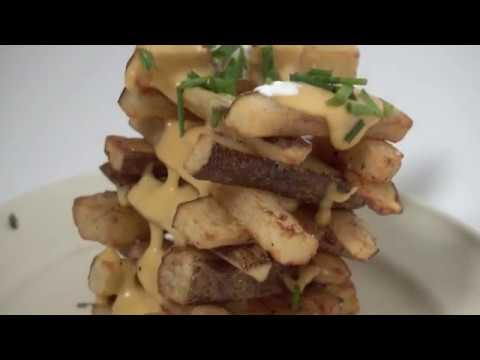 FRENCH FRY JENGA   Homemade French Fries with Beer Cheese Sauce