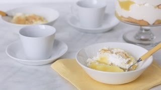 """Sarah Carey shares a delicious and easy recipe for a lemon trifle that's made with lemon curd, sweet whipped cream, and ladyfinger biscuits. We're sure it'll be a big hit with the whole family.Get the recipe: http://www.marthastewart.com/335711/lemon-trifleSubscribe for more easy and delicious recipes: http://full.sc/P8YgBt---------------------------------------------------------------Want more? Sign up to get the Everyday Food video recipe email, served daily.Get recipe emails: http://www.marthastewart.com/edfWant more Martha? Twitter: http://twitter.com/marthastewartFacebook: https://www.facebook.com/MarthaStewartPinterest: https://www.pinterest.com/marthastewart/Instagram: https://www.instagram.com/marthastewart/Google Plus: https://plus.google.com/+MarthaStewart/posts Sarah Carey is the editor of Everyday Food magazine and her job is to come up with the best ways to make fast, delicious food at home. But she's also a mom to two hungry kids, so the question """"What's for dinner?"""" is never far from her mind -- or theirs, it seems! Her days can get crazy busy (whose don't?), so these videos are all about her favorite fast, fresh meals -- and the tricks she uses to make it all SO much easier.http://www.youtube.com/user/everydayfoodvideos"""