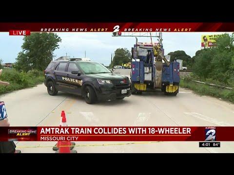 Amtrak train collides with 18-wheeler