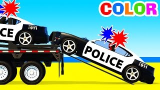 Color Police Cars Transportation & Learn Numbers with Superhero Educational Video w Colors for Kids