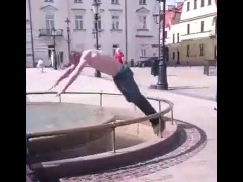 Sezon na sporty wodne rozpoczęty – idiota wskakuje do fontanny.