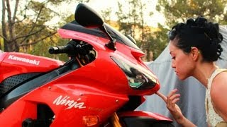 8. Asian German Girl and her 2005 Kawasaki Ninja ZX6R 636. Kawi Girl.