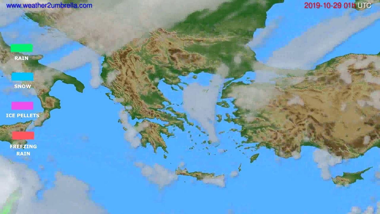 Precipitation forecast Greece // modelrun: 00h UTC 2019-10-28