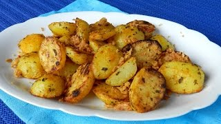 How to make easy roast potatoes with crispy onion. The recipe here is using baby potatoes that peeled and quick boiled before roasting. If you prefer to ...