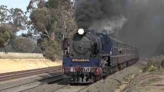 Seymour Australia  city photos : Australian Steam Trains: R711 on a high speed test run to Seymour