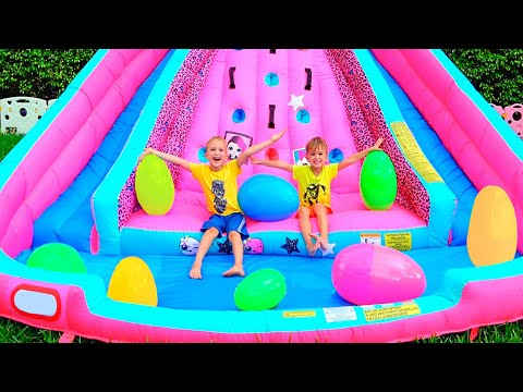 Huge Eggs Surprise Toys Challenge with Inflatable slide for Vlad and Nikita