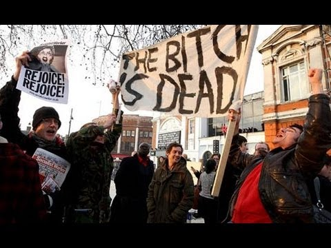 Celebrations in London over Margaret Thatcher's Death!