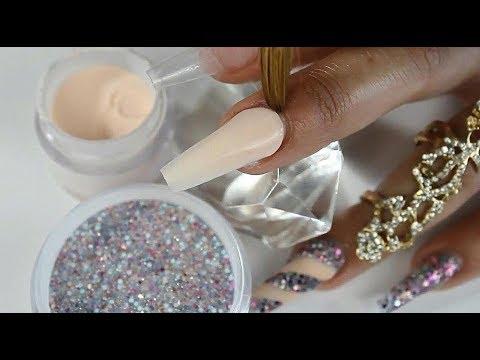 Uñas acrilicas - uñas acrílicas con uña en aspiral con punta diamante y mi mezcla primaveral