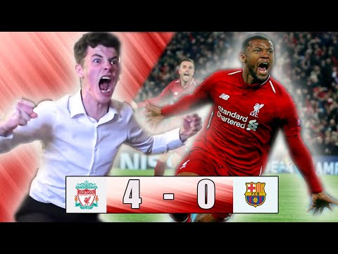 LIVERPOOL 4-0 BARCELONA FAN REACTION