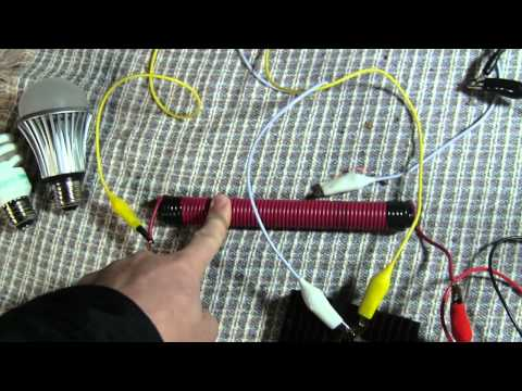 Joule Ringer - Running 120 volt lighting on a 12 volt system using a ferrite transformer.