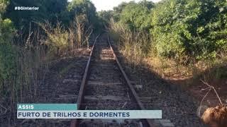 Trilhos e dormentes da linha férrea são furtados em Assis