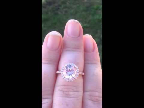 Peachy Pink Morganite in White Gold Diamond Halo Engagement Ring, Morganite Engagement Ring