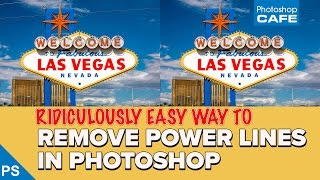 REMOVE POWER LINES in a photo with PHOTOSHOP, so easy