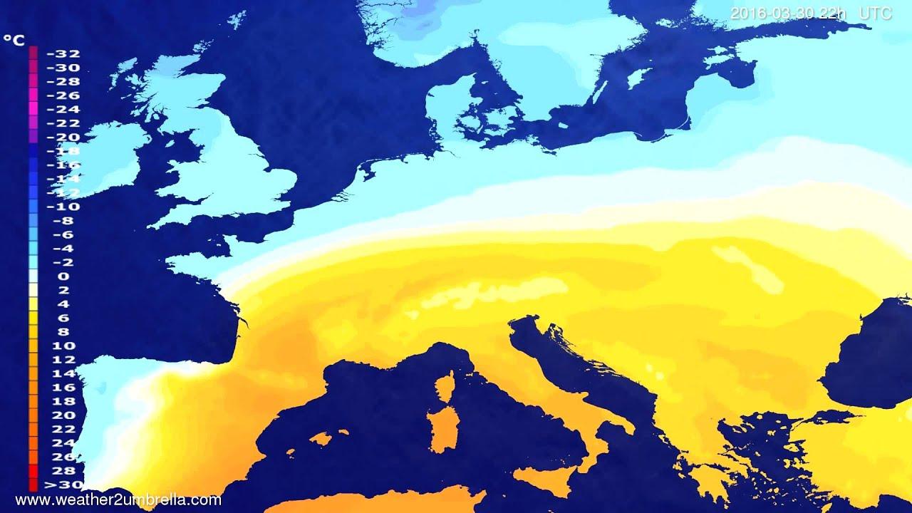 Temperature forecast Europe 2016-03-28