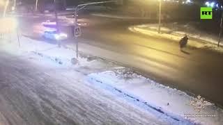 Rosyjski policjant powoduje kolizję aby uratować pieszych na pasach.