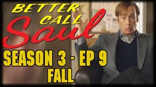 "Better Call Saul Season 3 Episode 9 Fall"" Recap and ReviewJimmy visits a friend and takes up an old pastime; Chuck and Hamlin argue over the future of the firm; Kim faces challenges.---Please Subscribe: https://www.youtube.com/user/theissuesguystuff?sub_confirmation=1Check out your favorite Shows Playlist! https://www.youtube.com/user/theissuesguystuff/playlistsSubscribe to our podcast on ITunes http://issuesprogram.com/itunes/https://itunes.apple.com/us/podcast/phils-recap-and-review-with-phil-theissuesguy-podcast/id943187265?mt=2Thanks for the support!---To help us Keep going and create more content  consider:Supporting the channel on Patreon: https://www.patreon.com/philtheissuesguyDonate to the Channel on Paypal:  https://www.paypal.me/PhiltheissuesguyAlso it really helps us to check out some off the offers and links bellow! http://www.audibletrial.com/Issues to sign up for 30 free days of Audible and get a free book! It helps us out BiG TIMEl! :)To get 30 days free with 1 games out on Gamefly sign up with the link: http://gameflyoffer.com/issuesSign up LootCrate! http://www.trylootcrate.com/issuesJoin the Record of the Month club: http://joinvmp.com/issues----Stay connected!Discord: https://discord.gg/0upUVdagXcUuzbfGGoogle Community: https://plus.google.com/u/0/communities/116286288385889495387Songs Used on the Show:  https://soundcloud.com/user-521817999And for more check out : http://Issuesprogram.com and our sisters channel http://youtube.com/dirtyissues for more fun!And If you have any questions or anything Call/Text 781 990 8509- 24/7Tweet @igotissuesmanor email igotissuesman@gmail.comThanks!http://issuesprogram.comhttps://twitter.com/igotissuesmanhttps://www.facebook.com/theissuesguyhttps://twitter.com/dirtylockzPartners/Associations Land Of ESH : http://www.electricsistahood.com http://www.youtube.com/dirtyissuesG4 Comic Etc: http://www.g4comicsetc.com------------------------------------------------------------------------------------------------------------------------------------------------------------------------Better Call Saul is an American television crime drama series created by Vince Gilligan and Peter Gould. It is a spin-off prequel of Breaking Bad, which was also created by Gilligan.[3] Set in 2002, Better Call Saul follows the story of small-time lawyer James Morgan ""Jimmy"" McGill (Bob Odenkirk), six years before his appearance on Breaking Bad as Saul Goodman; events after the original series are briefly explored."