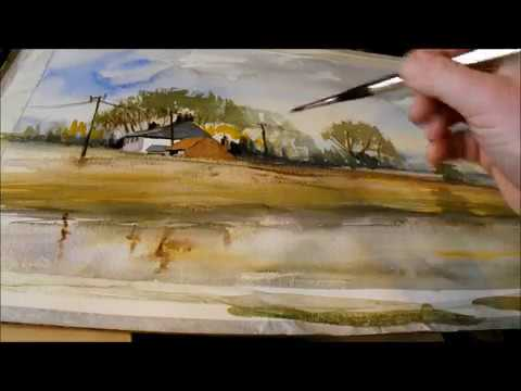 How To Paint a Watercolour Cottage, Trees, River & Reflections
