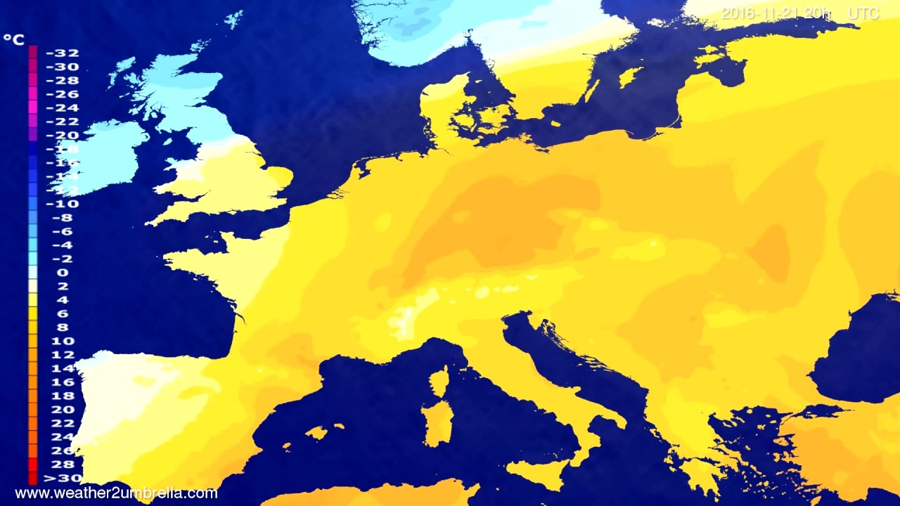 Temperature forecast Europe 2016-11-19