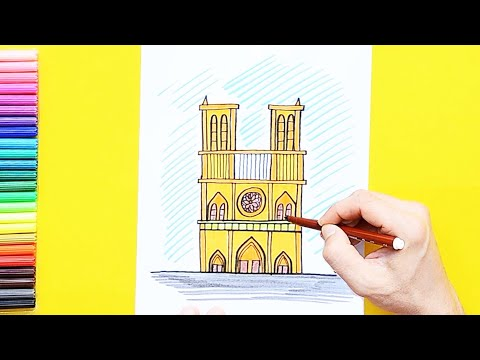 How to draw and color Notre-Dame Cathedral, Paris