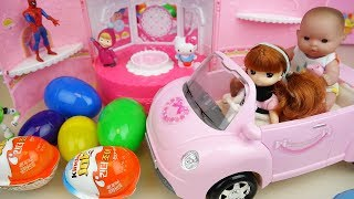 Video Baby doll pink car and surprise eggs toys bag play MP3, 3GP, MP4, WEBM, AVI, FLV Juli 2017