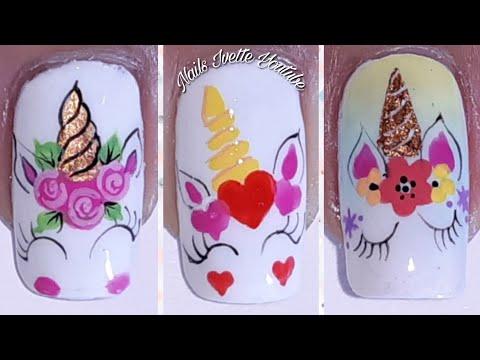 3 Diseños de uñas UNICORNIO/Uñas decoradas con UNICORNIOS/Decoración de uñas Unicornio