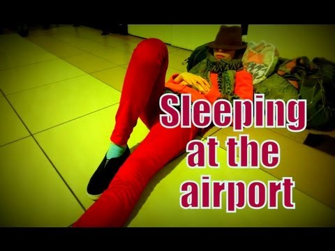Sleeping on the floor at Kuala Lumpur International Airport