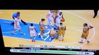 Duke's Grayson Allen fouls Notre Dame player, then flops