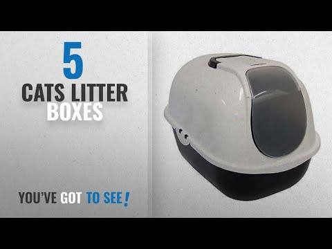 Top 10 Cats Litter Boxes [2018]: Cat Flip Litter Tray Dark Grey & White Box Hooded Pan Toilet