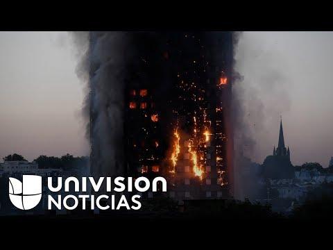 Incendio en edificio de 27 pisos moviliza a cientos de bomberos en el oeste de Londres (видео)