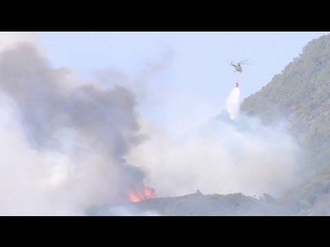 إتلاف ألاف الهكتارات من الغابات جراء الحرائق في جزيرة لا غوميرا - فيديو