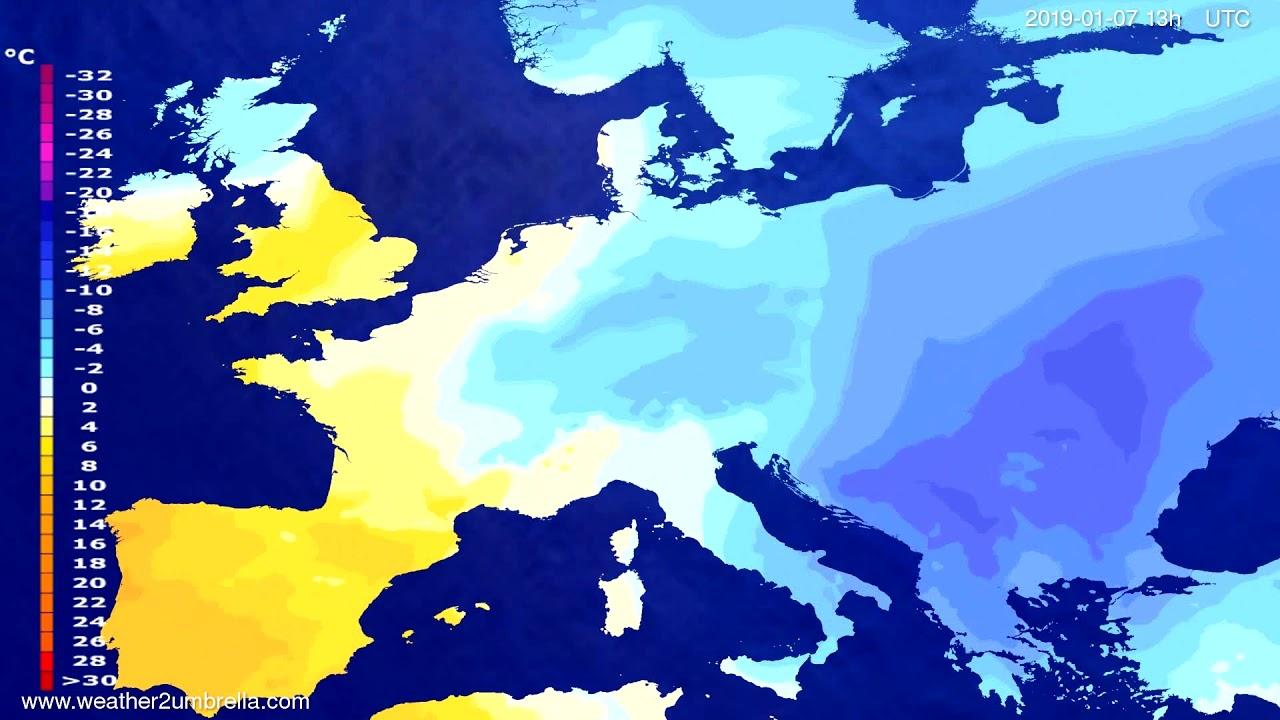 Temperature forecast Europe 2019-01-04
