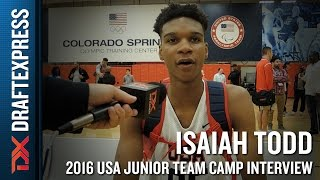 Isaiah Todd Interview at USA Basketball Junior National Team Camp