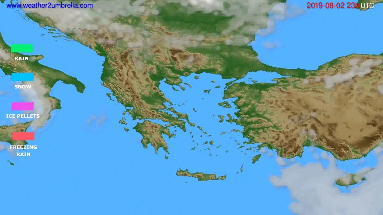 Precipitation forecast Greece // modelrun: 12h UTC 2019-07-30