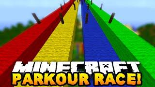 Minecraft 1v1v1 RAINBOW PARKOUR RACE! w/PrestonPlayz, Vikkstar123 & MrWoofless