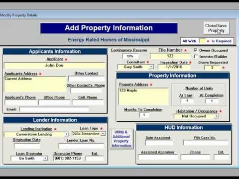 Add New Property/Edit Property - Rehab Estimator 203K 2010 Software -