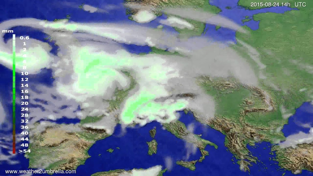 Precipitation forecast Europe 2015-08-21
