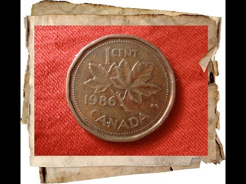 Old canadian coin values  1 cent 1986 Elizabeth II Canada / Нумизматика монета цент Канада