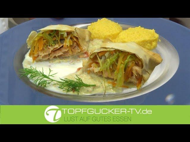 Lachsfilet im Strudel mit Kürbispüree und Rahmsauce   Rezeptempfehlung Topfgucker-TV