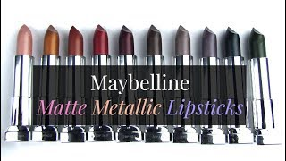"""Swatches of Maybelline's Matte Metallic Lipsticks.*Purchase here: http://bit.ly/2thtEZdSwatch photos:  http://wp.me/p1jkff-jhM BLOG SALE: http://bit.ly/1dGiNtFhttp://www.allurabeauty.comPaula's Choice (best skincare): http://goo.gl/r9cy4o Ebates cash-back: http://bit.ly/1kQ83tMhttp://www.allurabeauty.comTwitter: http://twitter.com/allurabeautyFacebook: http://www.facebook.com/allurabeautyPinterest: http://pinterest.com/allurabeauty/All links are provided for your convenience.  If there is a """"*"""" next to the link, it is an affiliate link."""