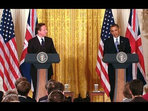 Conference - President Obama and Prime Minister David Cameron hold a joint press conference in the East Room of the White House. May 13, 2013.