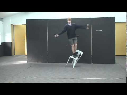 Kid performing Shakespeare falls and breaks chair